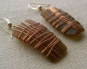 Brown Sea Glass Earrings With Copper Wire Wrap 14K Gold Filled French Hooks Chesapeake Bay Beach Sea Glass Maryland