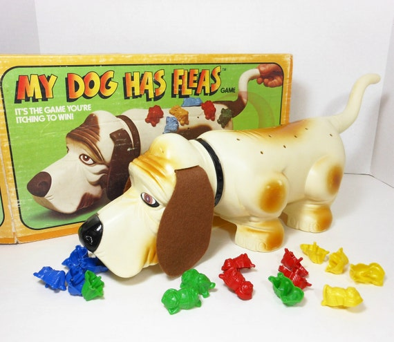 Vintage Toy Game My Dog Has Fleas 1979 Basset Hound Puppy Bugs Primary Colors PeachyChicBoutique on Etsy