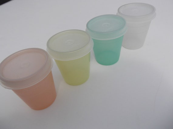 Vintage Tupperware Midgets 1980s Sheer Pastel 2oz Cups with Lids Orange Yellow Mint Clear 80s does 50s