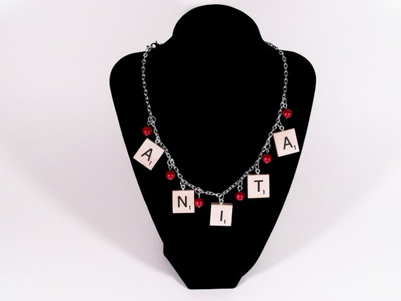 Scrabble Tile Name Necklace Custom Any Word Your Choice of Beads