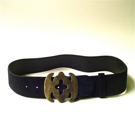 vintage garay wide navy blue suede cinch belt with distressed