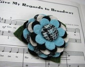My Plaid Collection - Handcut Felted Wool Flower Brooch Pin in Black White Aquamarine