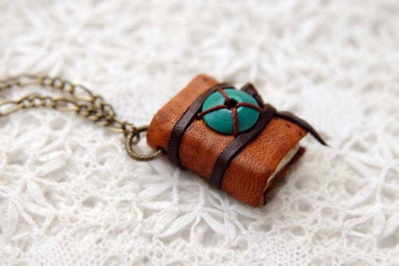 Turquoise & Orange - Vintage Leather Wearable Book with Tea Stained Pages and Turquoise Bead