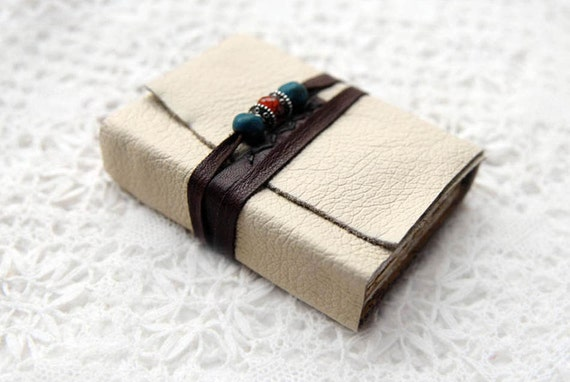 Southwest Scriptures - Cream Leather Mini Journal with Rustic Tea Stained Pages & Beads