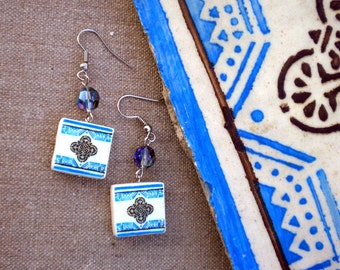 Porto Portugal Antique Tile Replica Earrings - Blue and Black - WATERPROOF and REVERSIBLE 316