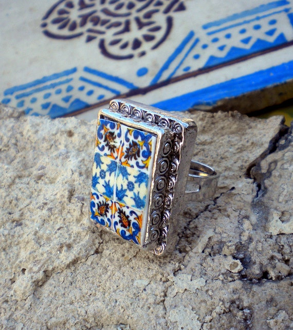 Portugal Antique  Tile Replica CHUNKY Rectangular Ring- Monserrate Palace SINTRA and PORTO - see photos