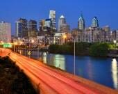 Philadelphia Skyline at Dusk Sunset COLOR Philly Panoramic Photo Poster Cityscape Standard Frame Size