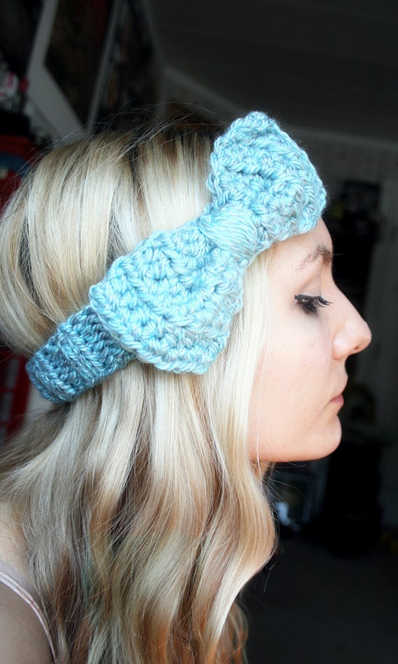 READY to SHIP - Harlow Large  Bow Headband in Ocean Blue