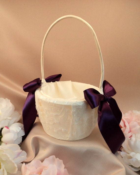 Custom Colors Satin and Lace Flower Girl Basket..BOGO Half Off..You Choose the Colors...shown in ivory/plum aubergine