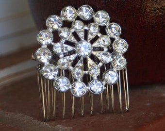 H3 Diamond Rhinestone CIRCLE Flower Hair Comb Upcycled Vintage