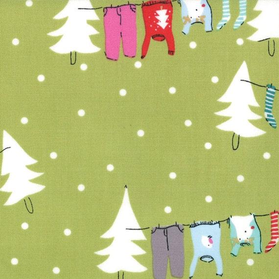 Cherry Christmas - Washing Line in Green - SKU 18530 18 - by Aneela Hoey for Moda Fabric - 1 Yard