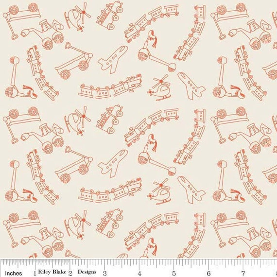 Scoot - Tiny Toys in Cream - sku C2723 - by Deena Rutter by  Riley Blake Designs - 1 Yard