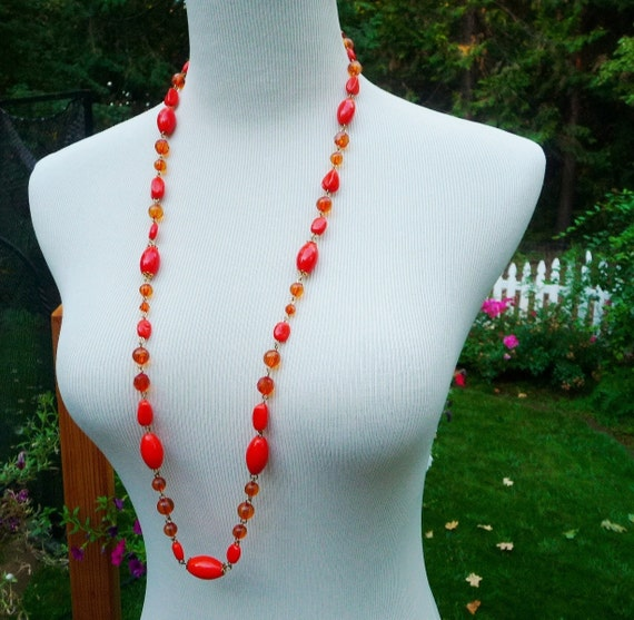 "Vintage Orange Beaded Necklace 35"" Long 1970s"