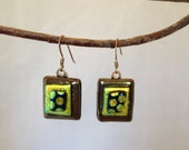 Gold and Brown Dichroic Glass Earrings with Polka dots