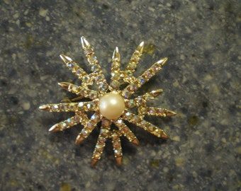 Vintage Emmons AB Rhinestone and Pearl Starburst Brooch Pin