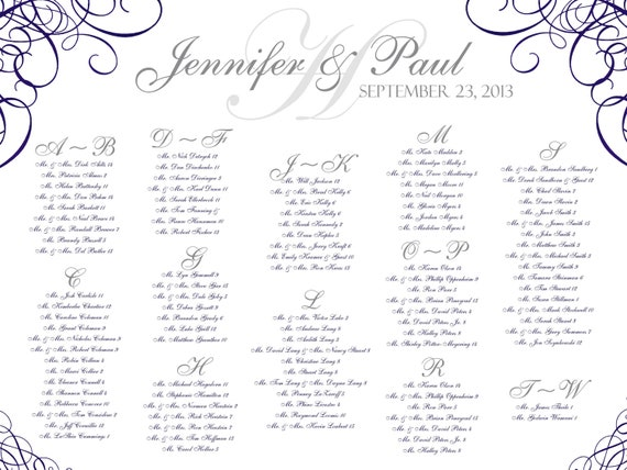 Alphabetical seating chart wedding template 2