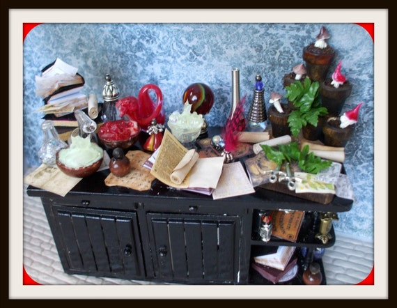 Gothic Witch shelf cabinet dollhouse miniature spell table Halloween ooak