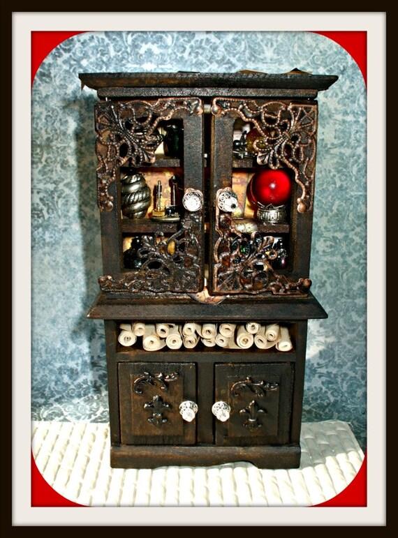Gothic Witch spell hutch dollhouse miniature hutch ooak gypsy