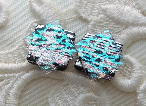 Post Earrings - Stud Earrings - Dichroic Glass -  Glass Earrings - Dichroic - Bead Earrings - Blue Earrings X1384