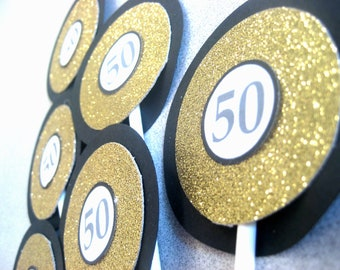 Gold and Black Cupcake Toppers, Gold Glitter Birthday Cupcake Toppers, Custom Gold Cupcake Toppers, Anniversary Cupcake Toppers, Gold Party