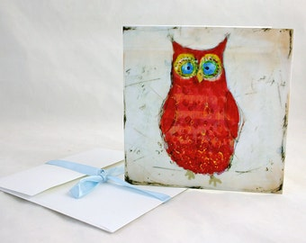 Red Owl - print or note card