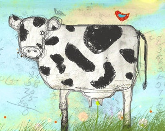 Moo Land- cow illustration print or note card