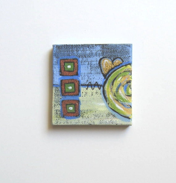 Miniature Abstract Heart Painting, original acrylic, lime green, bronze, easel, shabby chic, modern home decor