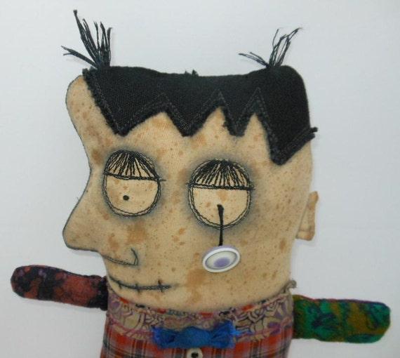 Zombie handmade cloth  art doll