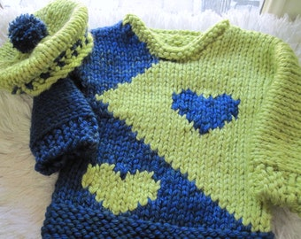 Heart Toddler Pullover and Tam in Bulky Knit Pattern     Child 3 to 8 years old