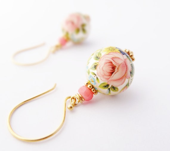 Tensha Bead Earrings with coral and gold vermeil shabby chic spring flower jewelry