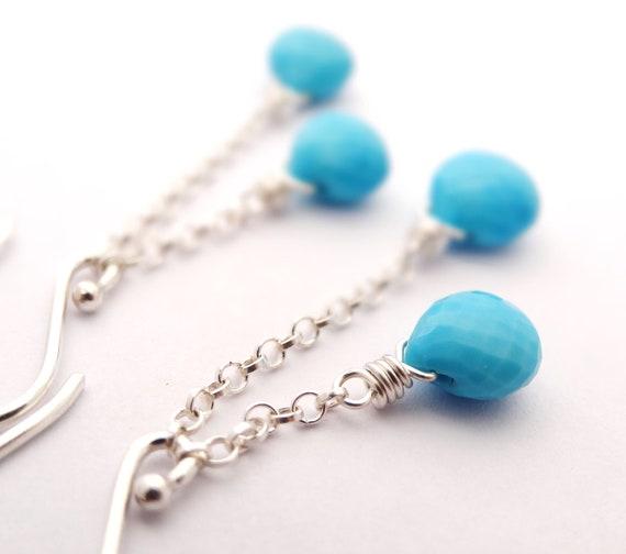 Turquoise Earrings bright blue gemstone jewellery spring australia sterling silver tassle jewelry december birthstone