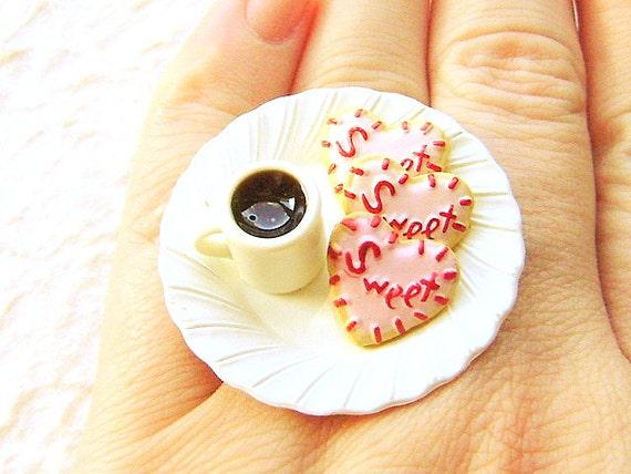 Coffee  Ring Kawaii Miniature Food Jewelry Pink Heart Cookies And A Coffee