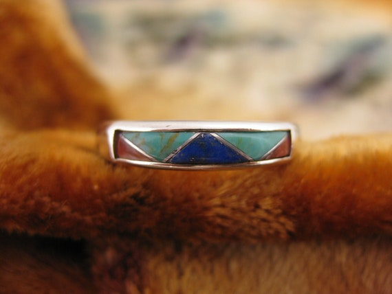 Ring - Size 9 1/4 - Sterling Silver - Carolyn Pollack - Relios - Inlay - Silver Multi Stone - Turquoise - Red Coral - Lapis.