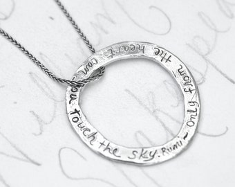 rumi quote circle necklace . bohemian eternity inspirational quote necklace . sterling silver engraved message . ready to ship