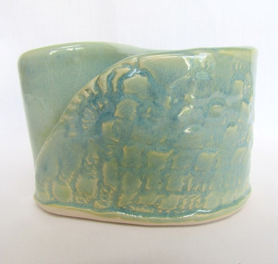 Yin/Yang Embossed Seafoam Green Vase Colorful Pottery by Centered ClayWorks