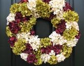 Autumn Wreaths, Fall Hydrangea Wreath, Fall Wreaths, Fall Hydrangeas, Front Door Wreaths, Holidays, Oktoberfest, Hydrangea Wreath