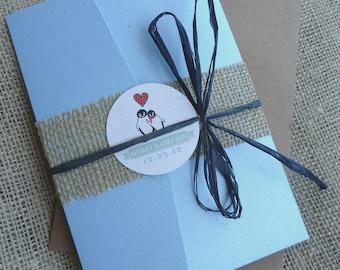 Christmas Penguin Winter Woodland Wonderland Wedding Invitation