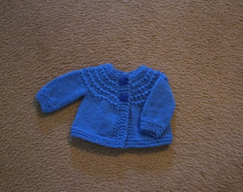 Hand Knitted - Royal Blue Baby Sweater