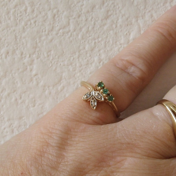 RESERVED for Rica, 10K gold Fancy Vintage Emerald and Diamond Ring for small fingers, size 4.5, free US shipping