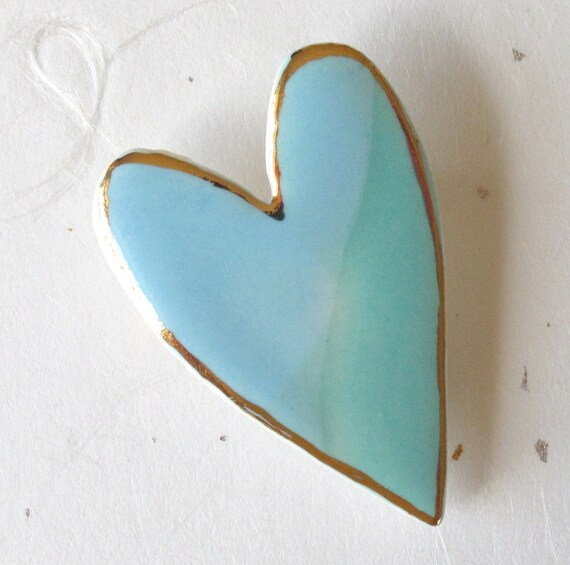 Porcelain Heart Brooch.  Robins Egg Blue & Aqua with 22K Gold Decoration. Valentines Day Gift