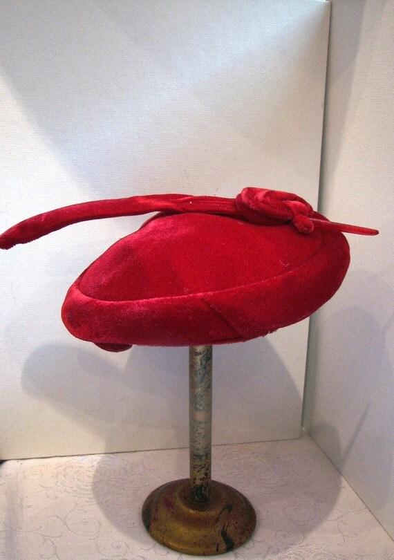 Vintage Hat in Red Velvet