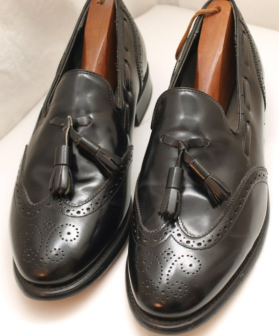 Vintage Men's Black Leather Loafers - size 9.5 - all leather construction