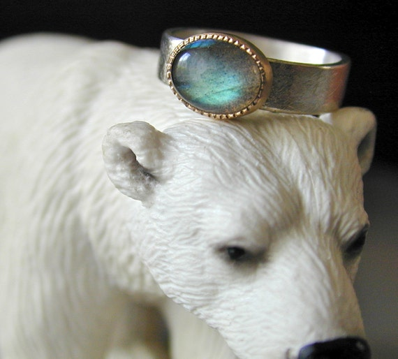 Labradorite Ring, Sterling Silver, 18kt Gold Bezel, Blue Stone Ring, Fabricated