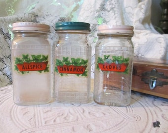 Vintage 1930's Spice Jars Shabby Chic Decor Studio Storage Jars