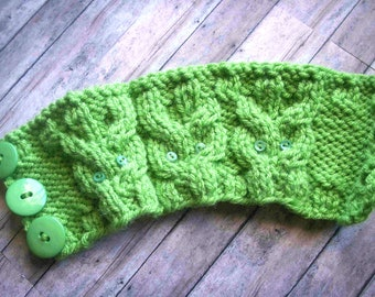 Lime Green Hand Knit Cabled Owls To Go Cup / Mug Cozy