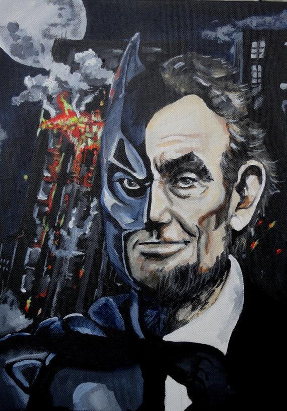 "The Dark Knight - Batman/Abraham Lincoln Portrait 11"" x 14"" Acrylic on Canvas Original Painting"