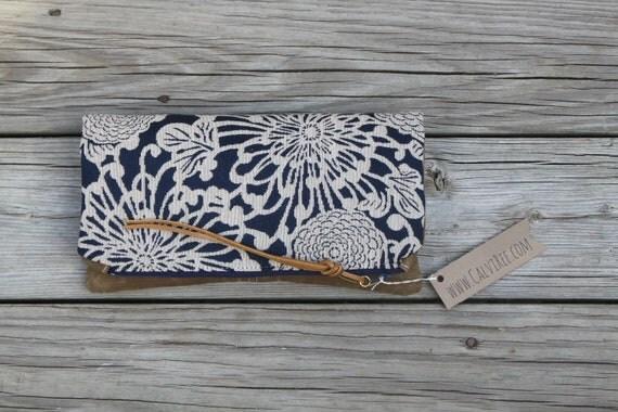 chrysanthemum waxed canvas foldover clutch utility bag zippered purse