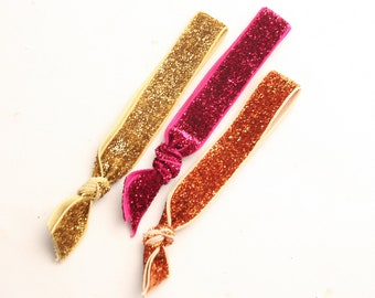 Glitter hair tie, set of three, women hair accessories, Ponytail Hair Ties