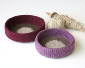 Rose-Wine Dot Felted Bowl Duo