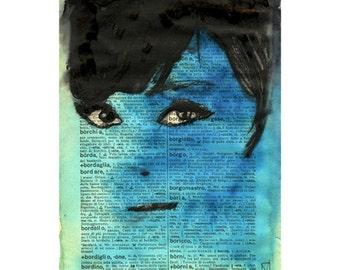 Art Print Painting Blue Woman Face